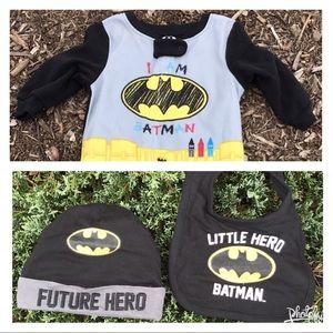 DC Comics I Am Batman Sleeper, Hero Bib & Hat Set